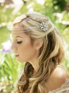 Silver Crytal Headband Crystal Headdress crystal by GildedShadows