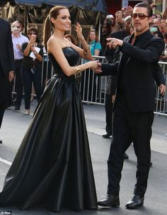 May 2014 - Angelina Jolie and Brad Pitt at the LA Premier of Maleficent in Hollywood Angelina Jolie Style, Brad And Angelina, Brad Pitt And Angelina Jolie, Vivienne Marcheline Jolie Pitt, First Ladies, Jennifer Aniston, Celebrity Couples, Celebrity Style, Hollywood Actresses