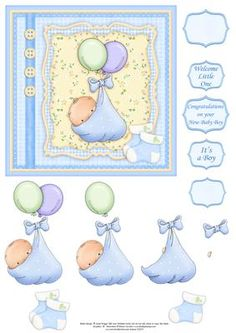 BABY BOY BALLOONS Card Topper Decoupage on Craftsuprint designed by Janet Briggs - New baby boy card topper with 3d step by step decoupage.Features cute baby bundle with balloons and bootee embellishments.Several sentiment tags, including one blank. The others read,Welcome Little OneIt's a BoyCongratulations on your new baby boySmall and larger sentiment tags, useful if you wish to use the tag as a stopper on an easel card. - Now available for download!