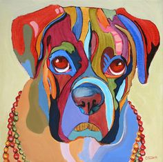 dog portrait painting by Carolee Clark