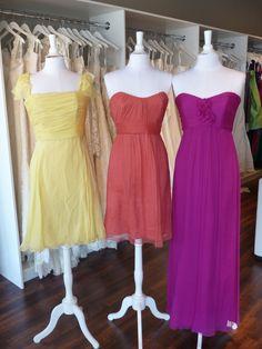 Amsale Bridesmaids Color Combos - lemon, coral, cerise
