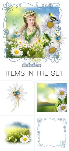 """""""The Earth Sings in Daisies!"""" by catfabricsandbuttons ❤ liked on Polyvore featuring art and the"""