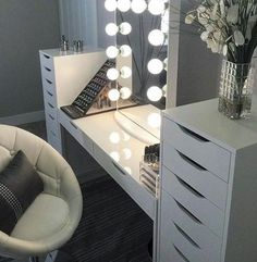 My Dream Beauty Room Planner For 2018 And Makeup Collection Makeup Desk, Makeup Rooms, Ikea Makeup, Makeup Kit, Vanity Room, Vanity Set, Glam Room, Room Planner, Room Goals