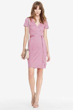New Julian Two Short Sleeve Silk Jersey Wrap Dress in in Peace Palm Pink