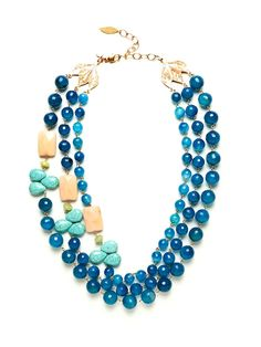 triple strand blue lace agate necklace with peach aventurine, olive jade, and turquoise by David Aubrey