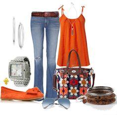 Linea orange shirt with orange flats