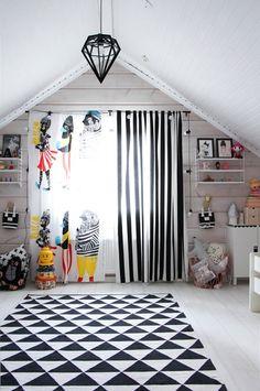 marimekko kulkue curtains paired with IKEA striped fabric