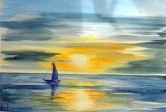 -calma piatta- acquerello 35x51 di Lorenza Pasquali