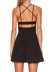 bfc3e1a52e4 Black Crossback Reverse Criss Cross Backless Pleated Dress