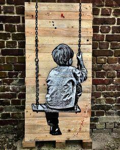 https://flic.kr/p/SJFmkn | Balançoire ... #jefaerosol #pochoir #stencil #bois #wood #davidpluskwagallery #urbanartfair #palissade #recycled #palette #urbanart #spraypaint