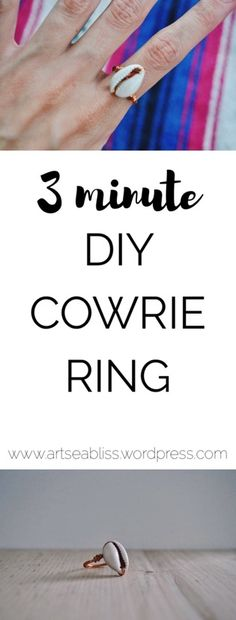 How to make this easy and cute Anthropologie inspired DIY cowrie ring. I used copper wire and the shell only! It was super fast and is a perfect summer craft for girls who love fashion.