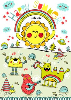 www.pepitagrilla.com Illustration Art, Illustrations, Cute Monsters, Happy Summer, Rainbows, 4th Of July, Summertime, Random, Sweet
