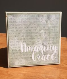 "Hymn- ""Amazing Grace"" 8x8 wooden sign"