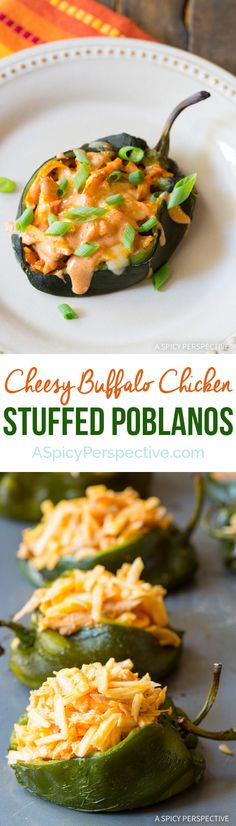 Easy to Make - Buffalo Chicken Stuffed Poblano Peppers Recipe on ASpicyPerspective.com