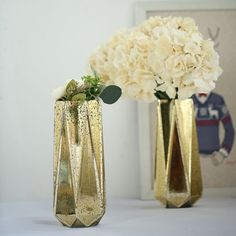 2 GOLD tall Mercury Glass Geometric Vases Wedding Events Home Centerpieces Gold Wedding Decorations, Wedding Vases, Fall Wedding, Christmas Decorations, Wedding Ideas, Flower Centerpieces, Flower Vases, Party Centerpieces, Bud Vases