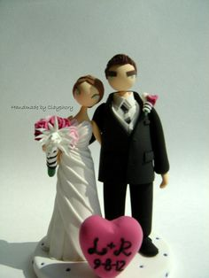 Cute couple customized  wedding cake topper by Clayphory on Etsy, $130.00