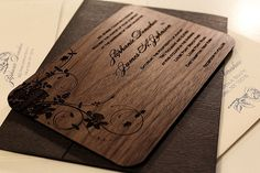 Engraved Wood Invitations   Unique Wedding Invitations