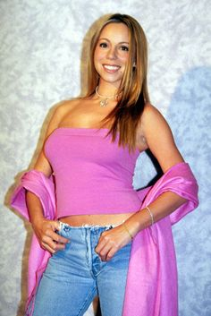 Image result for mariah carey 2000 awards 2000s Fashion, Mariah Carey, Female Singers, Pretty In Pink, Blue Jeans, Fan, Beautiful, Tops, Awards
