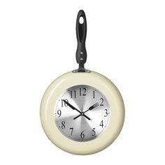 Wall Clock, Cream Frying Pan Design, Metal/Plastic