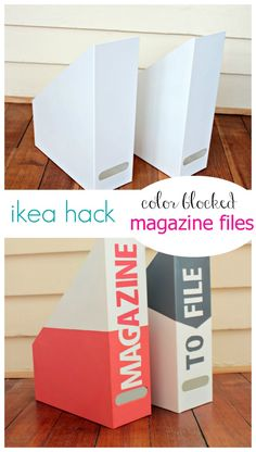 Take your plain white Kvissle Magazine Files from Ikea and give them a fun, modern makeover.  Just grab some paint and vinyl stick on letters and create these color blocked Magazine Files in your favorite colors.