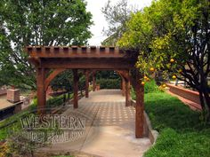 Free standing pergolas with Early American stain and Roosevelt profile.