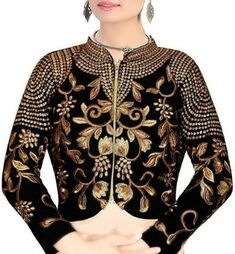 High Neck Jacket Black Velvet #Blouse Full Sleeves Blouse Designs, Saree Blouse Designs, Black Indians, Indian Blouse, Black Velvet, Sweaters, Jackets, Collection, Tops