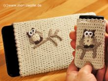 """Crochet Mobile Phone Bag - Tablet Case - Smartphone and Handy Case with owl """"Athene"""""""