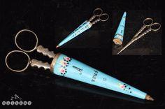 18th Century French Enamel Etui / Necessaire & Silver Sewing Scissors   eBay