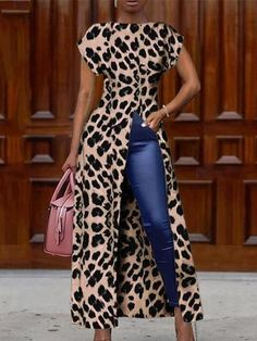 Fashion Tips For Women Suits Fashion Round Collar Short Sleeve High Slit Zipper Leopard Print Sexy milaio African Print Fashion, African Fashion Dresses, African Attire, African Dress, Skirt Outfits, Chic Outfits, Fashion Outfits, Womens Fashion, Fashion Blouses