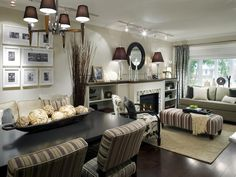 neutral living room  ...notice the asymmetry in picture frame collage for-the-home