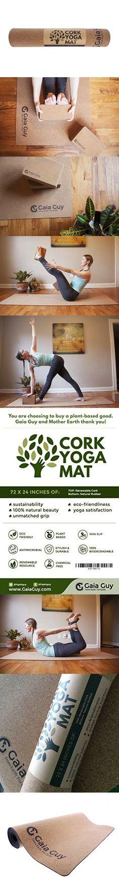 "Natural Cork and Natural Rubber Yoga Mat, 72"" x 24"" x 5mm Thick. Non-slip, Eco-friendly Yoga Mats!"