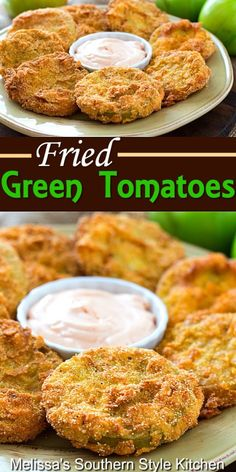 Recipes Appetizers And Snacks, Yummy Appetizers, Green Tomato Recipes, Fried Green Tomatoe Recipe, Green Vegetable Recipes, Fried Tomatoes, Vegetable Side Dishes, Side Dish Recipes, Food Dishes