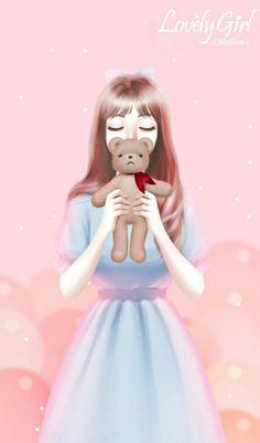 @Nor Syafiqah Cartoon Girl Images, Cute Cartoon Girl, Cartoon Girl Drawing, Cute Girl Face, Blue Wallpaper Iphone, Cute Girl Wallpaper, Lovely Girl Image, Girls Image, Girls In Love