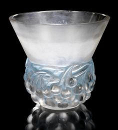 René Lalique  'Cerises' a Vase, design 1930  frosted glass, heightened with blue staining  19.4cm high, engraved 'R. Lalique France'