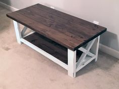 Narrow Two Toned Farmhouse Coffee Table by TheChicNShabbyBean