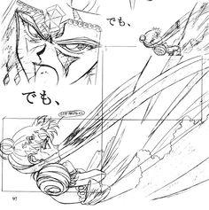 """Animation sketches of Princess Serenity battling villain Galaxia from """"Sailor Moon"""" series by manga artist Naoko Takeuchi."""