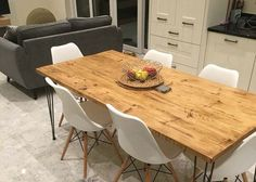 Vintage Hairpin Leg Kitchen Table Rustic by BilberryHandCrafted