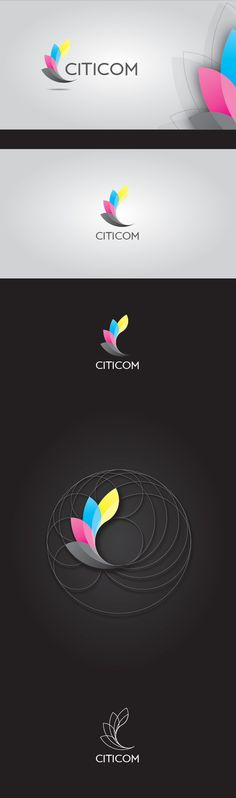 "CITICOM corporate identity concept. Inspired by CMYK colors, flying papers and letter ""C""."