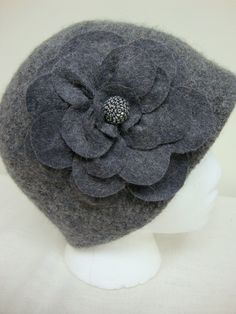 Charcoal Gray Felted Wool Cloche with Beautiful by modstitches