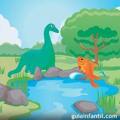 El dinosaurio y el pequeño pez es un cuento infantil que enseña que siempre hay una solución para cada problema, uno nunca debe darse por vencido.