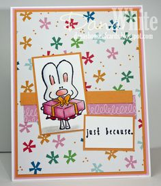 "Featuring Stamping Bella's ""Hoppy Poppy Has A Prezzie"" SKU 740031. Available at www.addictedtorubberstamps.com"