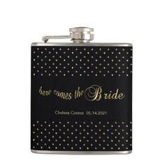 Bachelorette Party - Here Comes The Bride - Black Hip Flask - girl gifts  special unique diy gift idea 4214787c4ec0