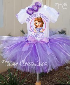 Sofia the First personalized Birthday tutu Set t shirt Hair Bow Dress Custom
