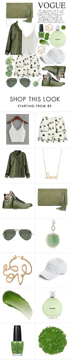 """Camo Chic"" by lialicious on Polyvore featuring Topshop, Chicwish, Sydney Evan, Converse, LULUS, Ray-Ban, Dorothy Perkins, Lanvin, rag & bone and Lipstick Queen"