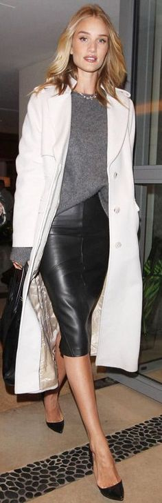 Pippa Black Leather Pencil Skirt Fall Inspo