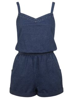 Stripey Denim Playsuit from Miss Selfridge Denim Playsuit, Denim Jumper, Playsuit Romper, Jumpsuit, Mode Glamour, I Love Fashion, Affordable Fashion, Clothing Patterns, What To Wear