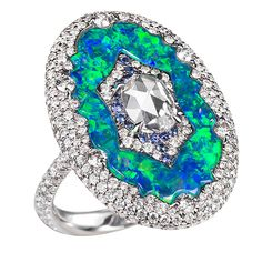 Inlaid diamond and blue opal ring by Bogh-Art