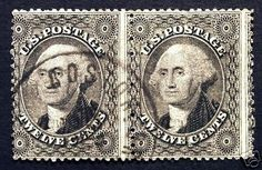 U.S. #36 12c Black 1857 Used Horizontal Pair tied with Boston Cancel Pre-Civil War  - Giant #rarestamp #Sale All Weekend at LittleArtTreasures.com