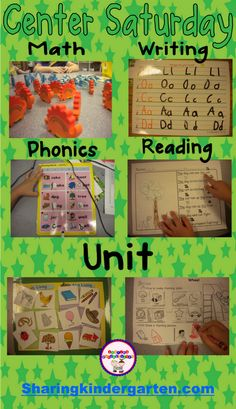 Math, phonics, reading and writing center ideas