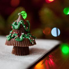 Chocolate Trees filled with Peanut Buttery Goodness... Reese's + Kisses + Decorations
